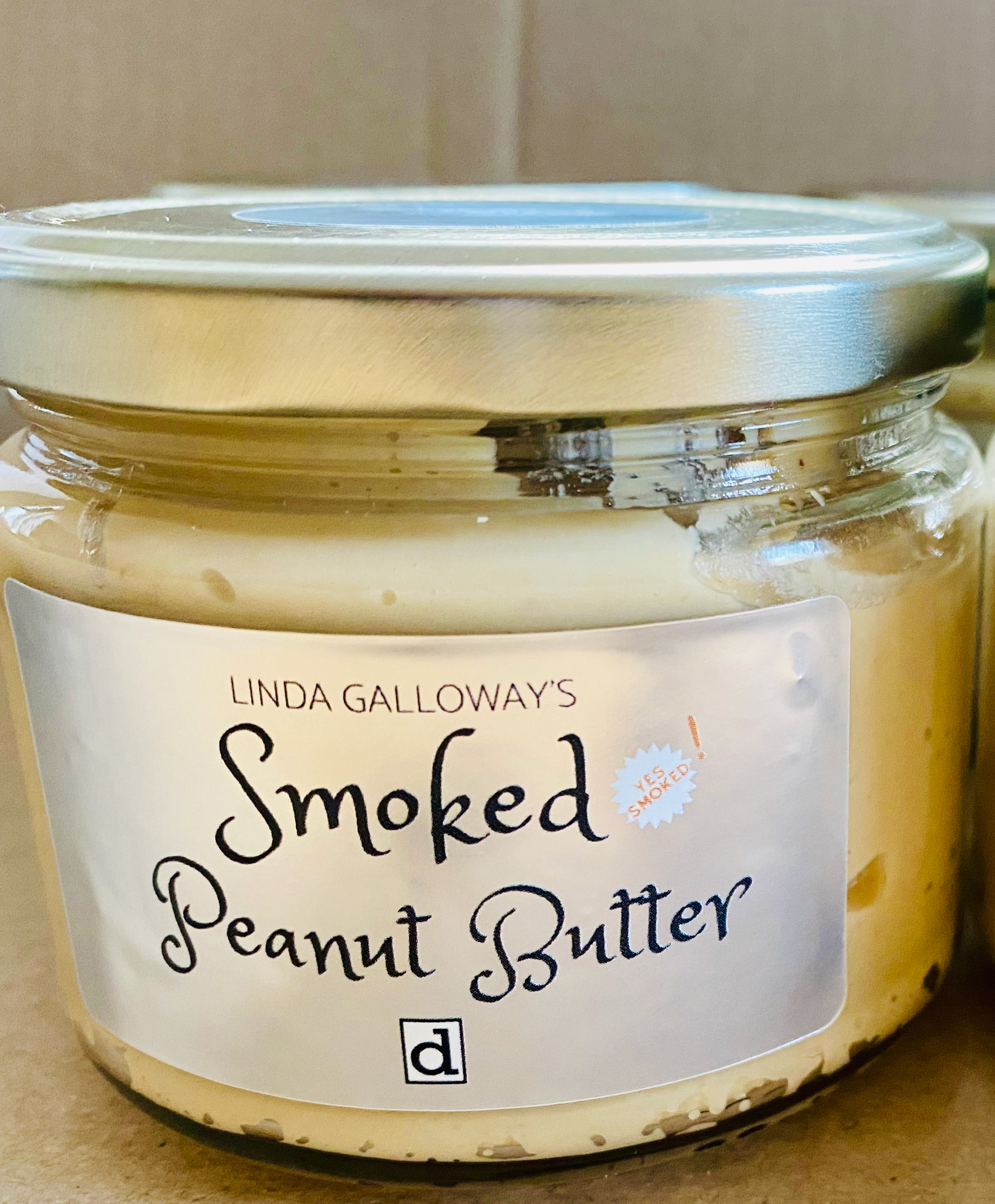 A jar of smoked peanut butter