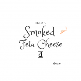 A label that reads Linda's smoked feta cheese