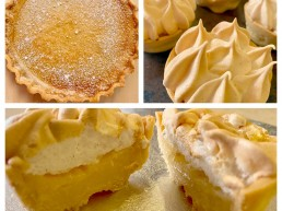 A collage of photos showing a custard tart and lemon meringue pie with crisp shortcrust pastry